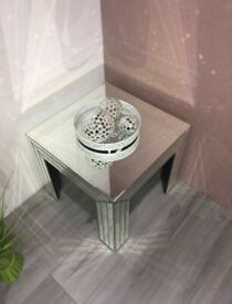 Marianna Mirrored Side Lamp Table BRAND NEW