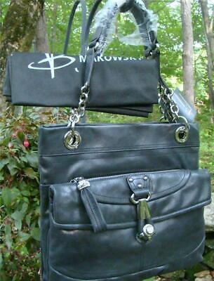 NEW B Makowsky BLACK-Dark GRAY Drew Tote. Vintage Leather, Dust Bag, MSRP $298!