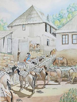 MULE STABLES Watercolour Painting SIGNED c1970