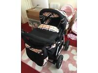 Pram 3 in 1 includes, Carry Cot, Car Seat, Changing Bag, Mattress and Pushchair