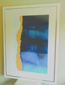 Large white - framed abstract print with silver inserts.
