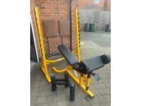 Bodymax heavy duty squat rack and Bodymax heavy duty adjustable bench + accessories