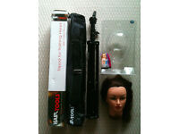 Complete hair stylist kit incl training head, tripod, instyler, clippers, scissors, makeup & more