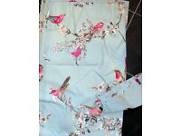 Lovely pale blue floral & bird pattern lined pencil pleat curtains & tiebacks