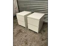 FREE DELIVERY TWO IKEA MALM WHITE BEDSIDE TABLES GREAT CONDITION