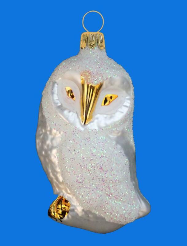 WHITE GOLD SNOW OWL GERMAN BLOWN GLASS CHRISTMAS TREE ORNAMNET
