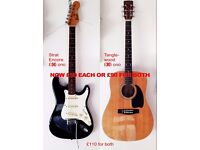 Stratocaster Encore copy (lead guitar) and Tanglewood Steel String (acoustic guitar)