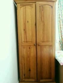 Solid pine double door wardrobe with shelf