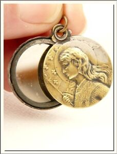 FRENCH 1915's JOAN OF ARC JEANNE D'ARC BRONZE SLIDE MIRROR LOCKET PENDANT !!!