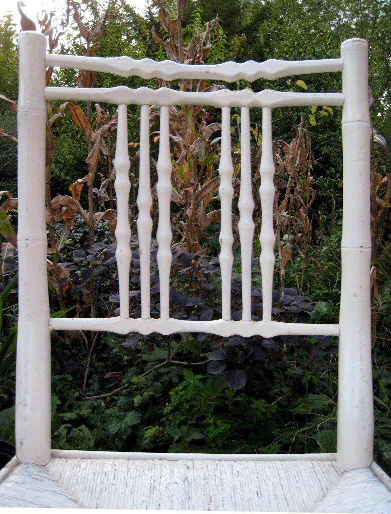 Antique c1820 White Wooden Faux Bamboo Rush Seated Bedroom Occasional Side Chair ~ Two Available