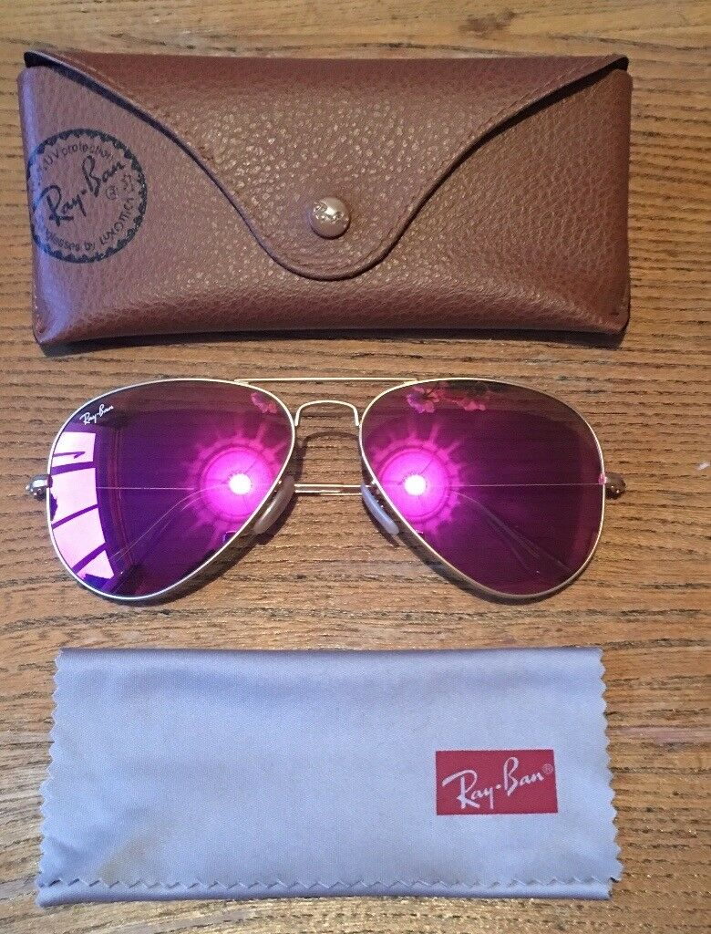 Ray Ban Magenta Pink Flash Aviator Sunglasses In York