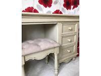 Cream Loire dressing table, stool and mirror