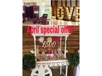 Vintage photo booth love letters candy cart wedding/corporate events/birthdays