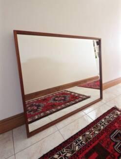 Large Danish Parker Mirror, Solid Teak Frame, Can Deliver