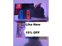 Nintendo Switch Neon [Like New] + Super Mario Odyssey + Clear Protective Case