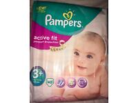 107 Pampers Active Fit 3+ Nappies (11-22lbs)