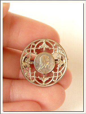 BEAUTIFUL ART NOUVEAU FRENCH VIRGIN MARY PIN BROOCH !!! VISIT MY STORE !!! - Christian Jewelry Store