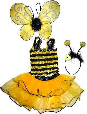 Bumble Bee Tutu (Bumble Bee dress up tutu set~*~ 4 pcs: Wings, headband, Tutu, top~*~ size 2-4T)