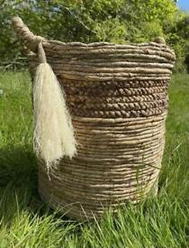 Vintage Boho Woven Rattan Tassel Wicker Basket