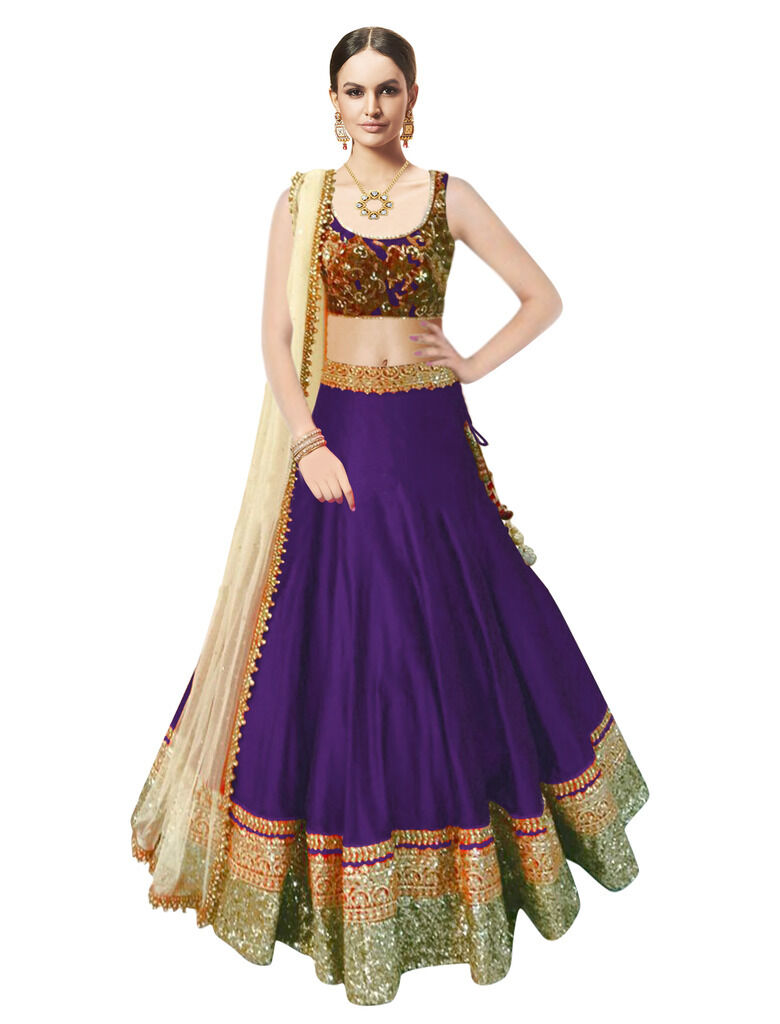 20% Off. Max discount of Rs 300 | Top Selling Beauty Purple New Designer Lehenga choli for Girls & Women By Ebay @ Rs.999