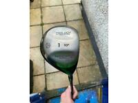 Driver, 5 wood, putter and balls