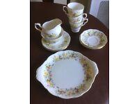 Colclough hedgerow tea set; serving plate, 3 tea cups saucers, 3 tea plates, milk jug and sugar bowl