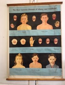 """Vintage Medical wall chart """"The Most Common Diseases of Infancy and Childhood"""""""
