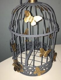 Hand painted grey and gold butterfly and flower birdcage