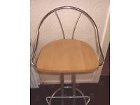 3 x sturdy long lasting Wood Chrome Bar stools