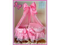 CP,New Handmade Dolls Baby Pink Lacy Moses basket + Stand Crib Bassinette Toy