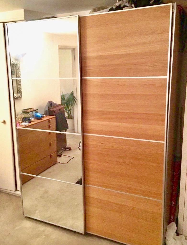 Ikea Pax Wardrobe With Half Mirrored Glasshalf Ilseng Oak Sliding