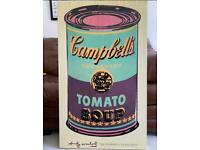 FREE Andy Warhol Campbell's soup wooden canvas picture.