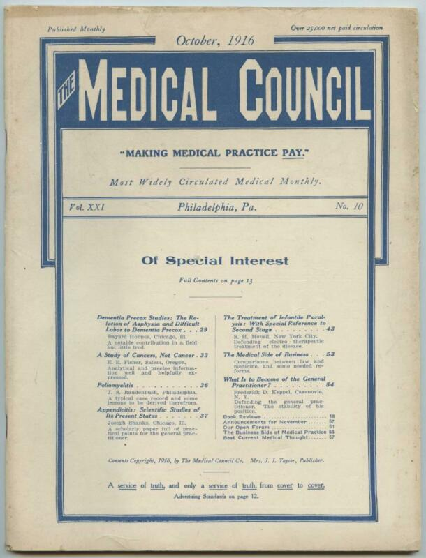 Oct. 1916 Philadelphia Medical Council Journal Medicine Doctors Trade Magazine