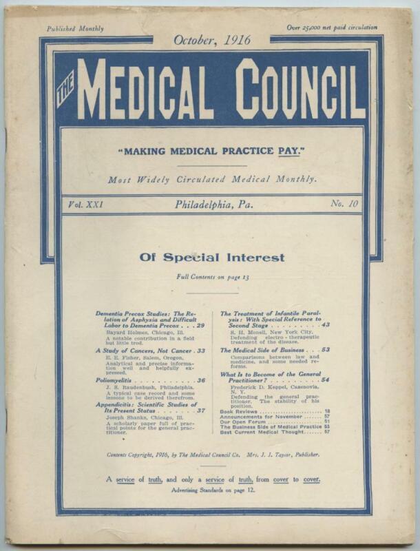 Oct. 1916 Philadelphia Medical Council Journal Medicine Doctors Trade Magazine