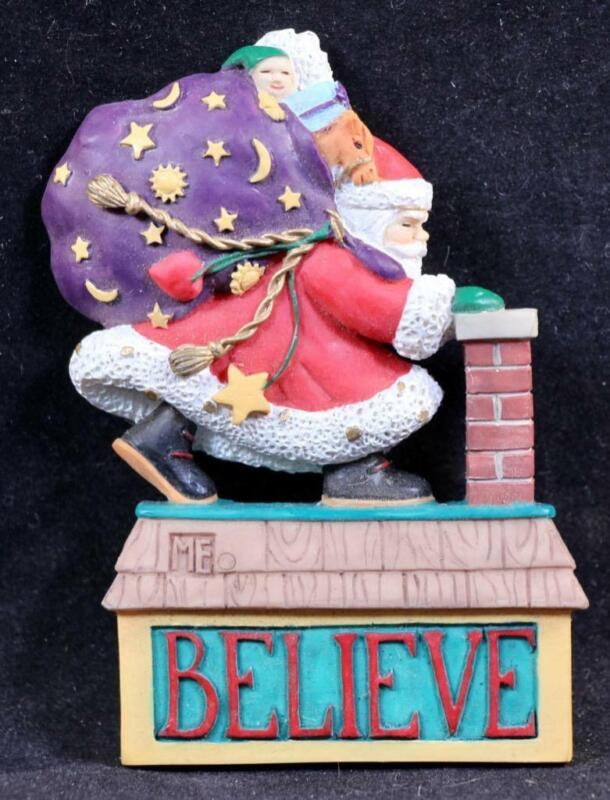 """Mary Engelbreit Poly Stone """"Believe"""" Santa Magnet. New/Old Stock! MG 51472"""