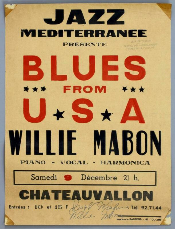WILLIE MABON - rare vintage original France 1967 blues concert poster *SIGNED*