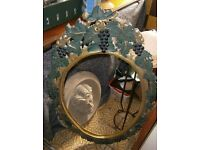 Old Carved & painted oval frame mirror frame
