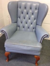 Leather Wingback Chair Chesterfield Queen Anne style Retro Blue