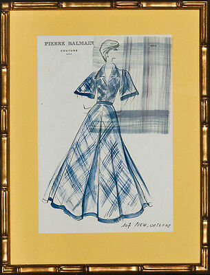 Pierre Balmain Couture #107 New Orleans Watercolour Fashion Plate