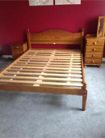 Double pine wooden bed
