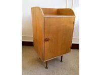 Retro Vintage Oak Bedside Cabinet Cupboard Table Studio Storage Wood Dansette Legs