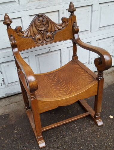 Antique Oak Curved Seat Side Chair