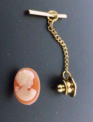 Cameo 14 x 10 MM Tie Tack Made With Vintage Cameos