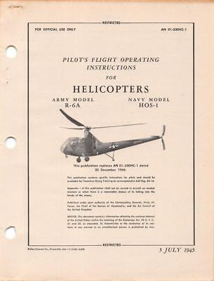1945 AAF SIKORSKY R-6A HOVERFLY II HELICOPTER PILOT FLIGHT MANUAL HANDBOOK-CD