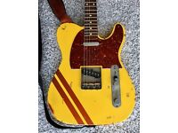 Nash T-63 Guitar - Yellow with Stripe (Fender Telecaster Style)