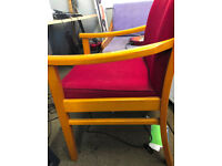 Set of four sturdy red upholstered chairs suitable for dining or office. £18 each or £65 set ono.
