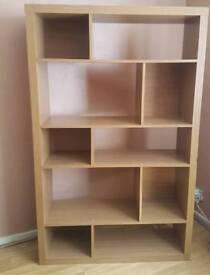 solid oak wood shelving unit