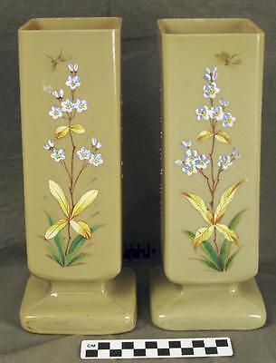 Pair Custard Bristol Milk Glass Square Vases Floral Decoration Caramel Cream HH