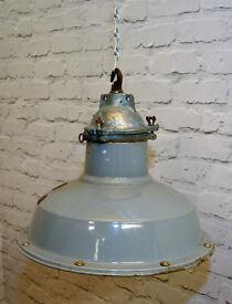 1940s Maxlume factory enamel pendant industrial lamp light lighting antique mancave interior design