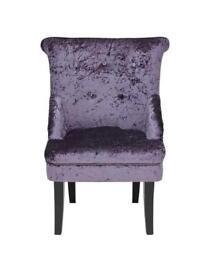Brand new crushed velvet boudoir chair bargain